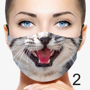 Animal Design Face Mask: Grey Cat